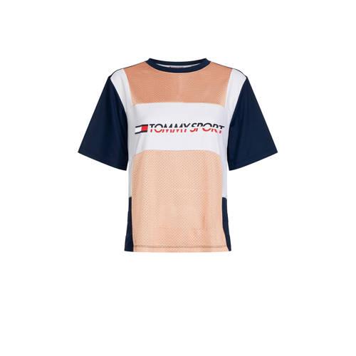 Tommy Sport T-shirt zalm/donkerblauw/wit