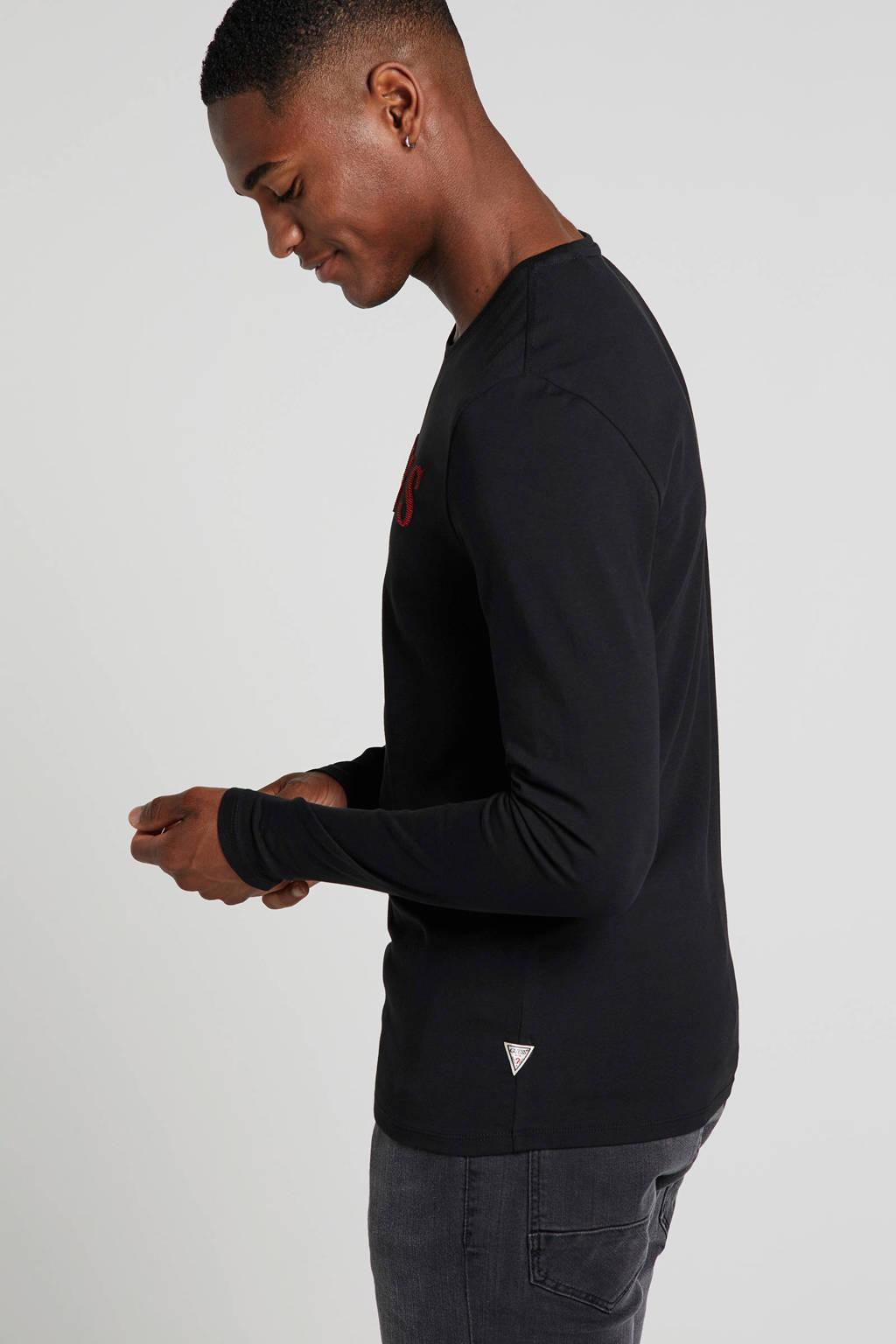 GUESS T-shirt met logo zwart, Zwart/rood