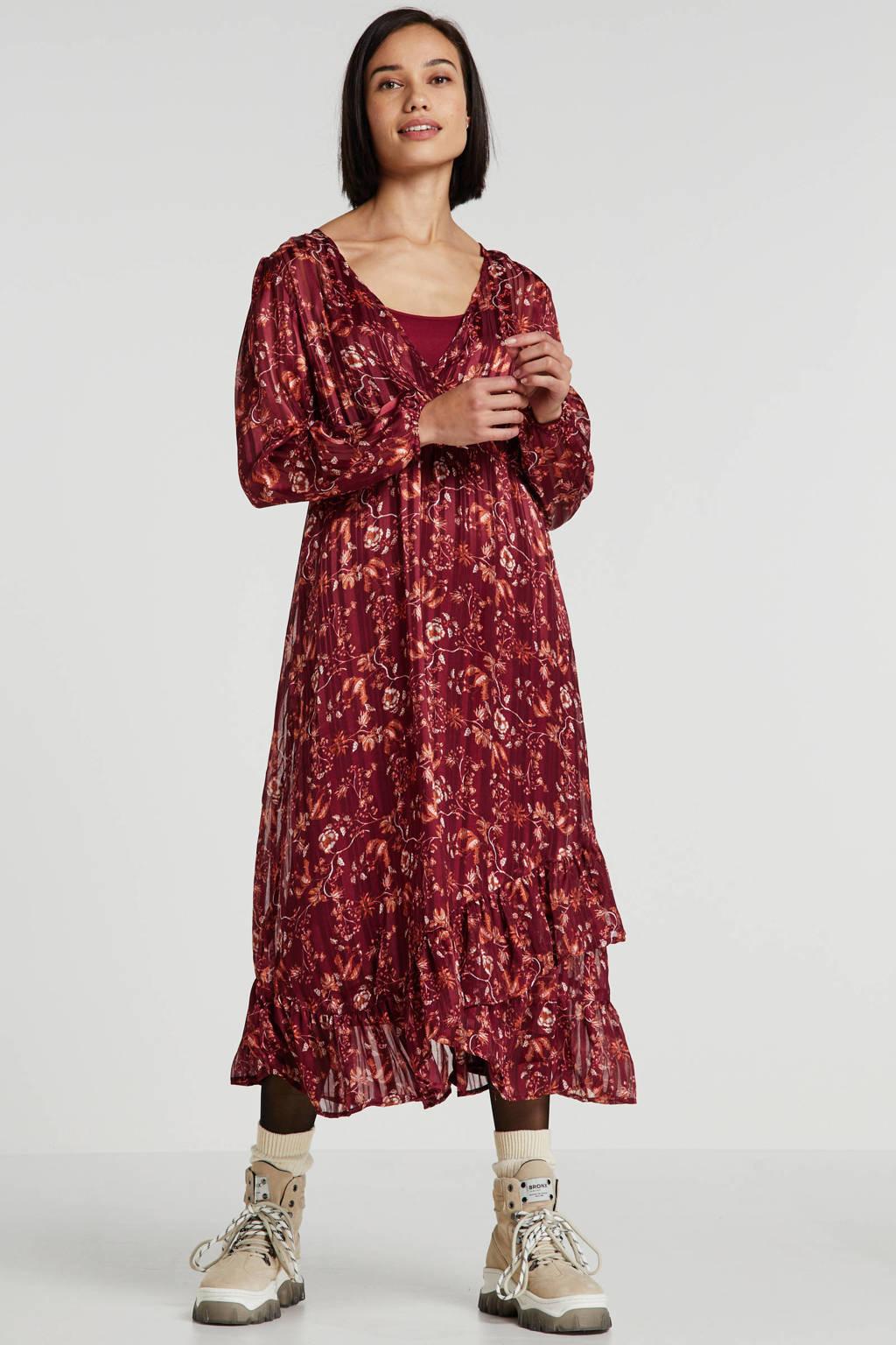 Cream gebloemde semi-transparante jurk Nila donkerrood, Donkerrood