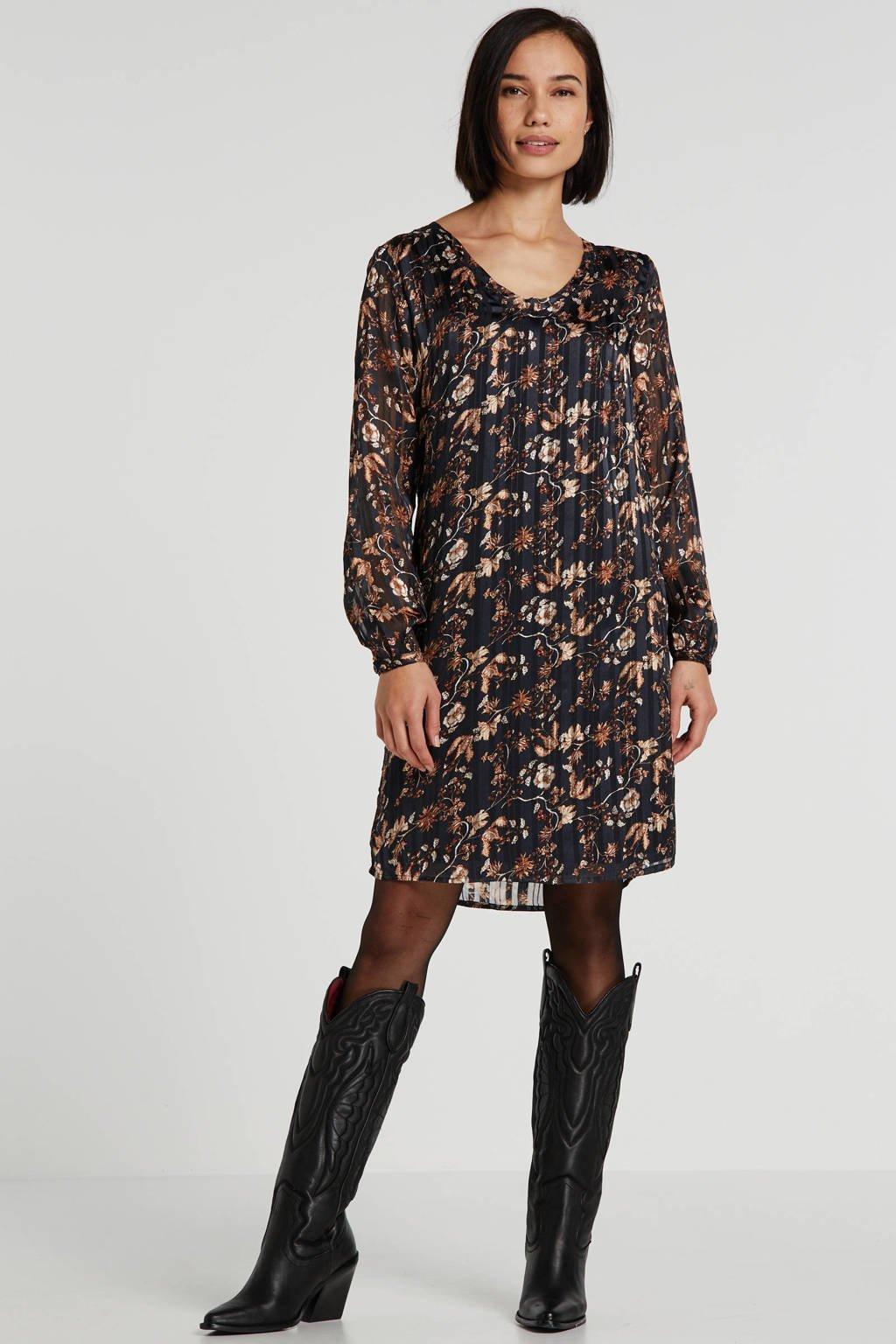 Cream gebloemde semi-transparante jurk Nila zwart, Zwart