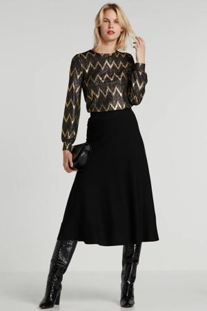fijngebreide A-lijn rok Celina zwart