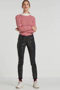 Cream slim fit broek Coco met slangenprint zwart, Zwart