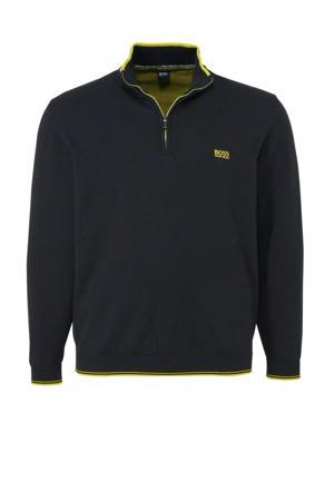 sweater met logo zwart/geel