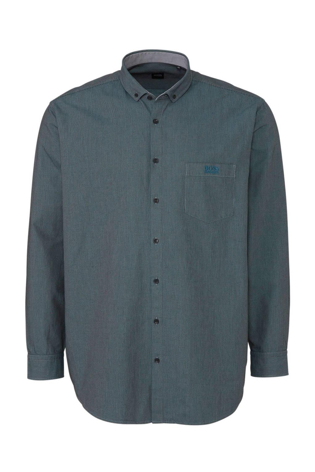 BOSS Athleisure Big & Tall gemêleerd regular fit overhemd blauw melange