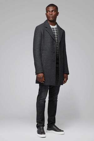 geruite winterjas met wol antraciet/zwart