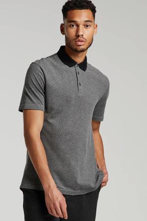 slim fit polo met all over print grijs/zwart