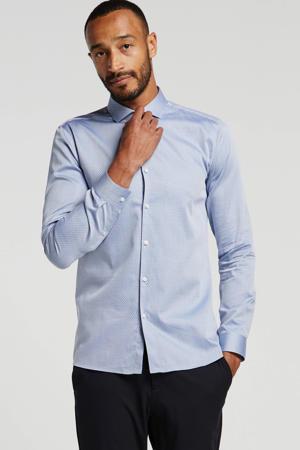 super slim fit overhemd met all over print blauw/grijs