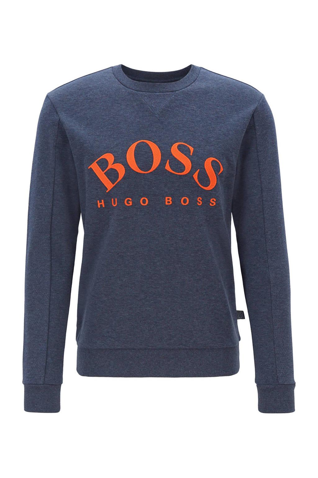 Boss Casual sweater met logo print blauw, Bauw/oranje