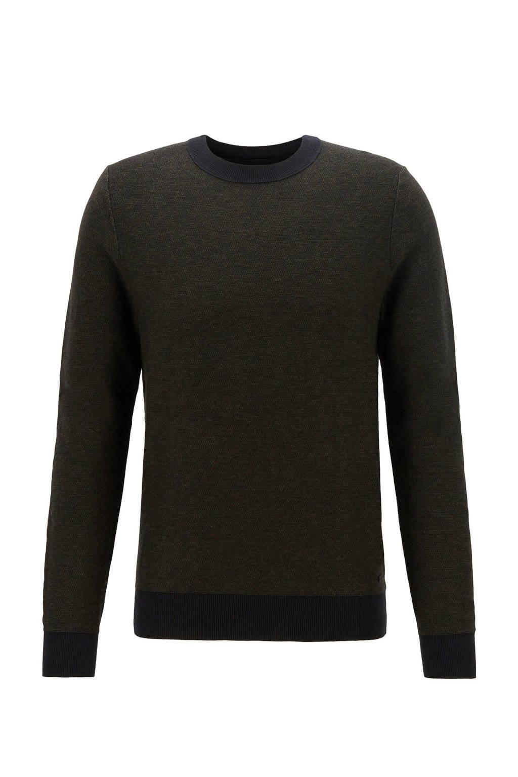 BOSS Casual gemêleerde trui met wol zwart, Zwart