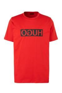 HUGO T-shirt met logo rood, Rood
