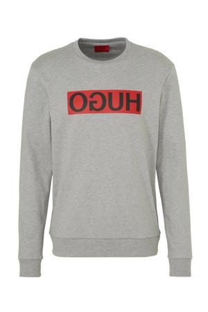 sweater met logo grijs/rood/zwart