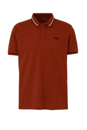 regular fit polo rood/zwart/wit
