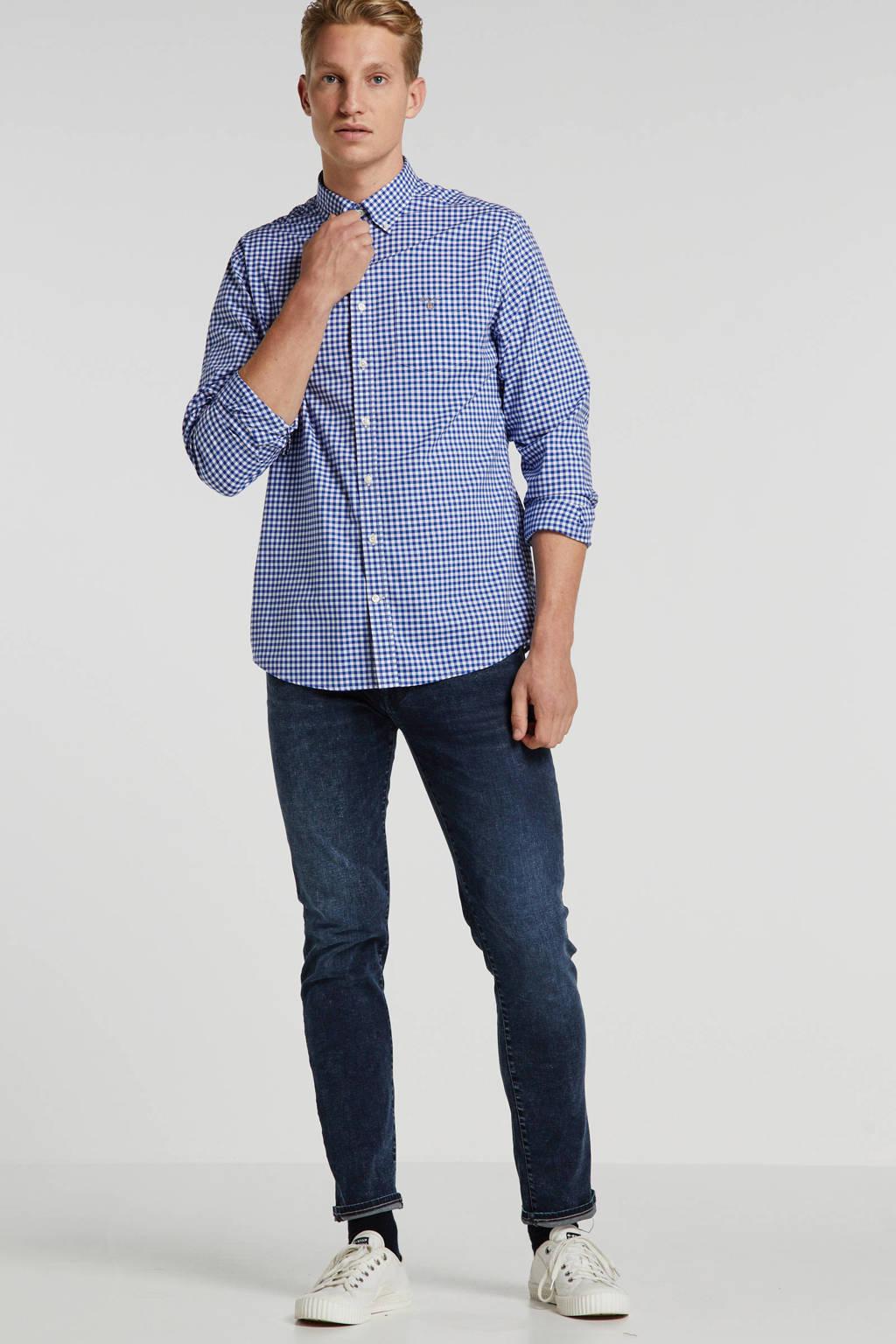 GANT geruit regular fit overhemd blauw/wit, Blauw/wit