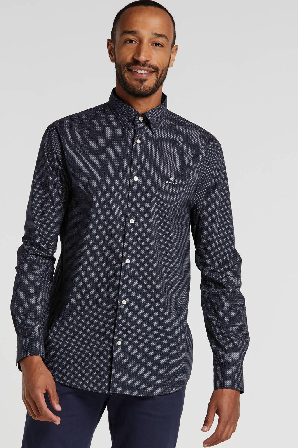 GANT regular fit overhemd met all over print marine, Marine