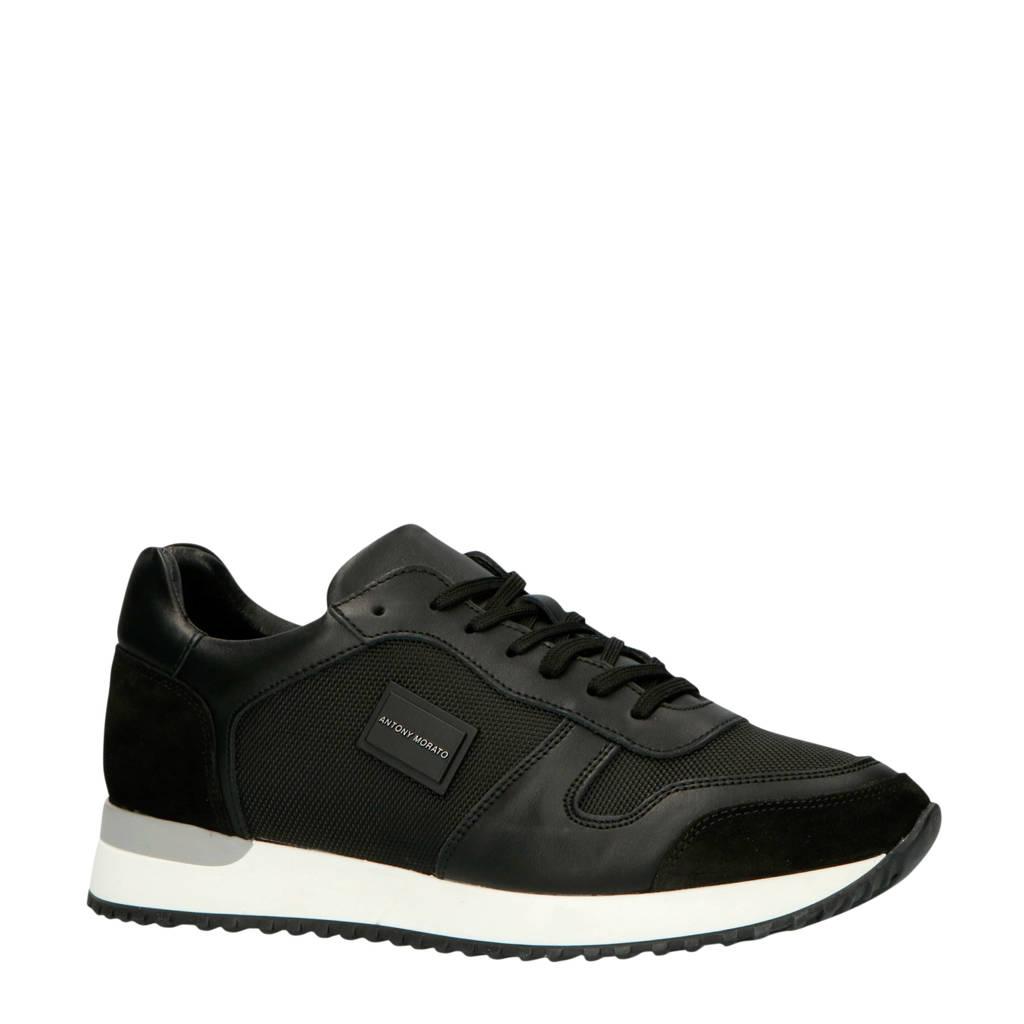 Antony Morato  MMFW01219-LE500019 leren sneakers zwart, Zwart