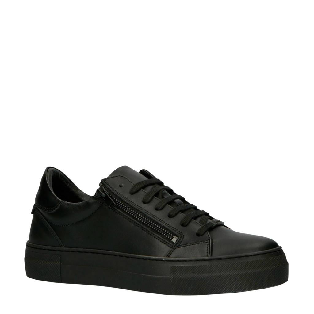 Antony Morato  MMFW01210-LE300001 leren sneakers zwart, Zwart