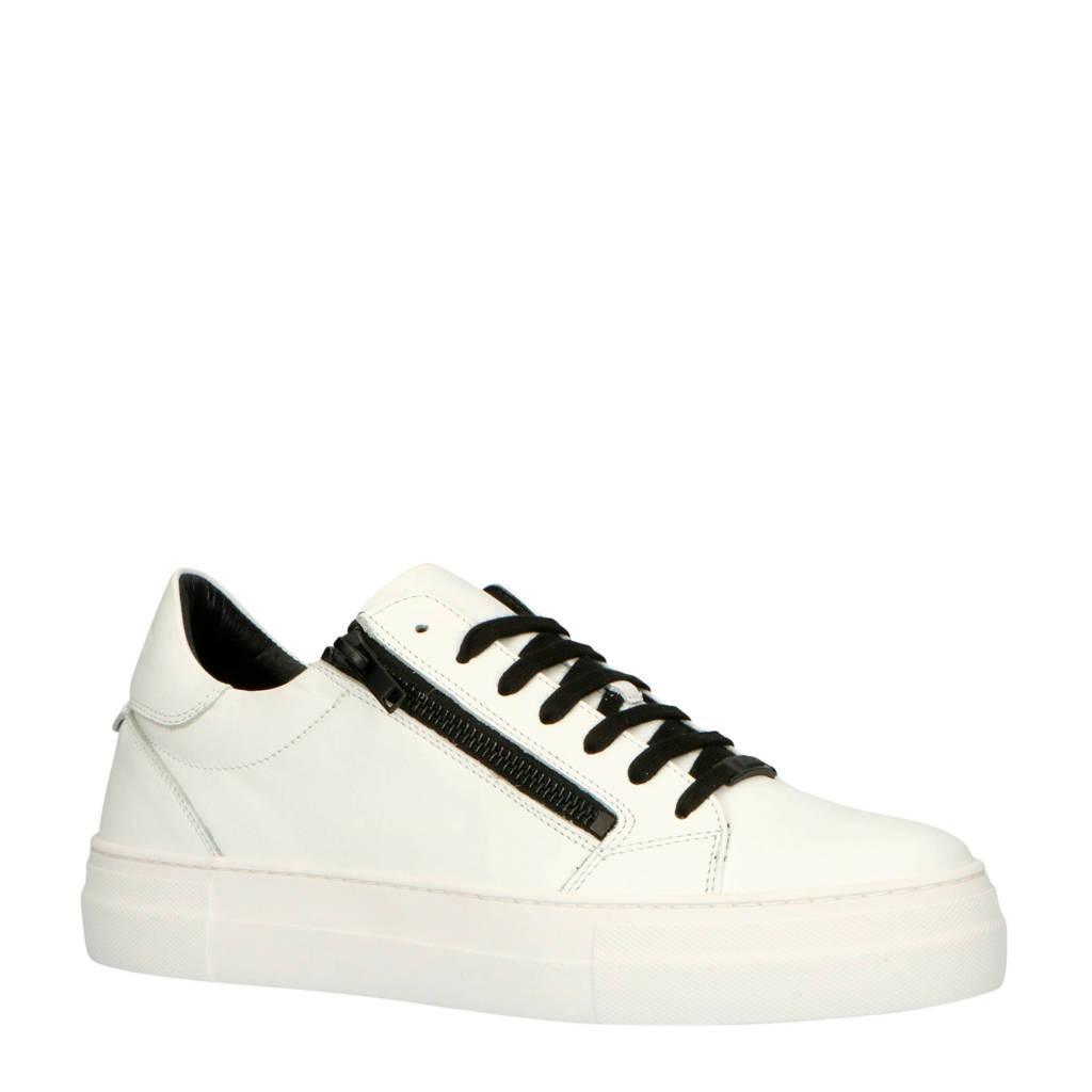 Antony Morato  MMFW01210-LE300001 leren sneakers wit, Wit/zwart