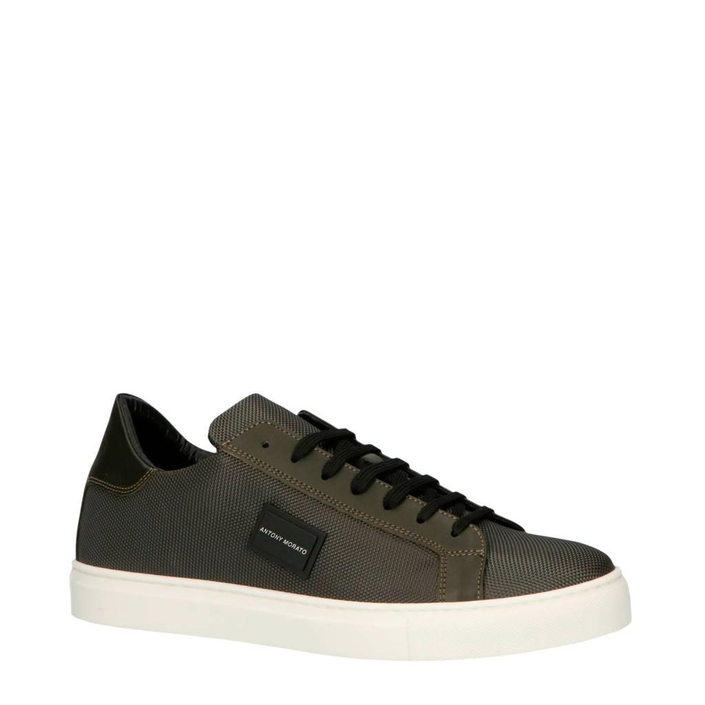 Antony Morato  MMFW01220-LE500019 leren sneakers groen, Donkergroen