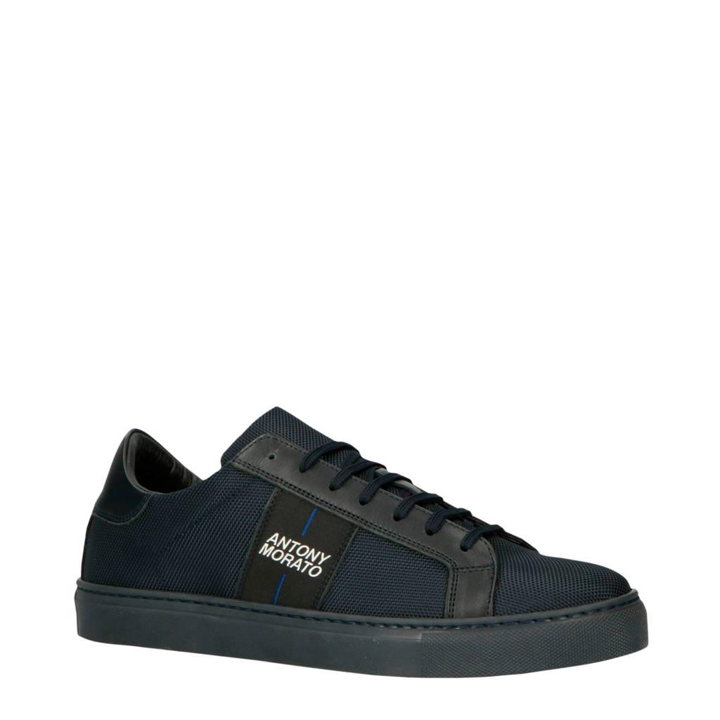 Antony Morato  MMFW01213-LE500019 leren sneakers donkerblauw, Donkerblauw/zwart
