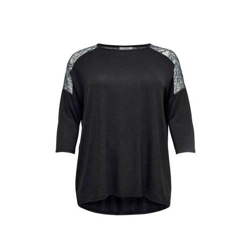 ONLY CARMAKOMA T-shirt met kant zwart