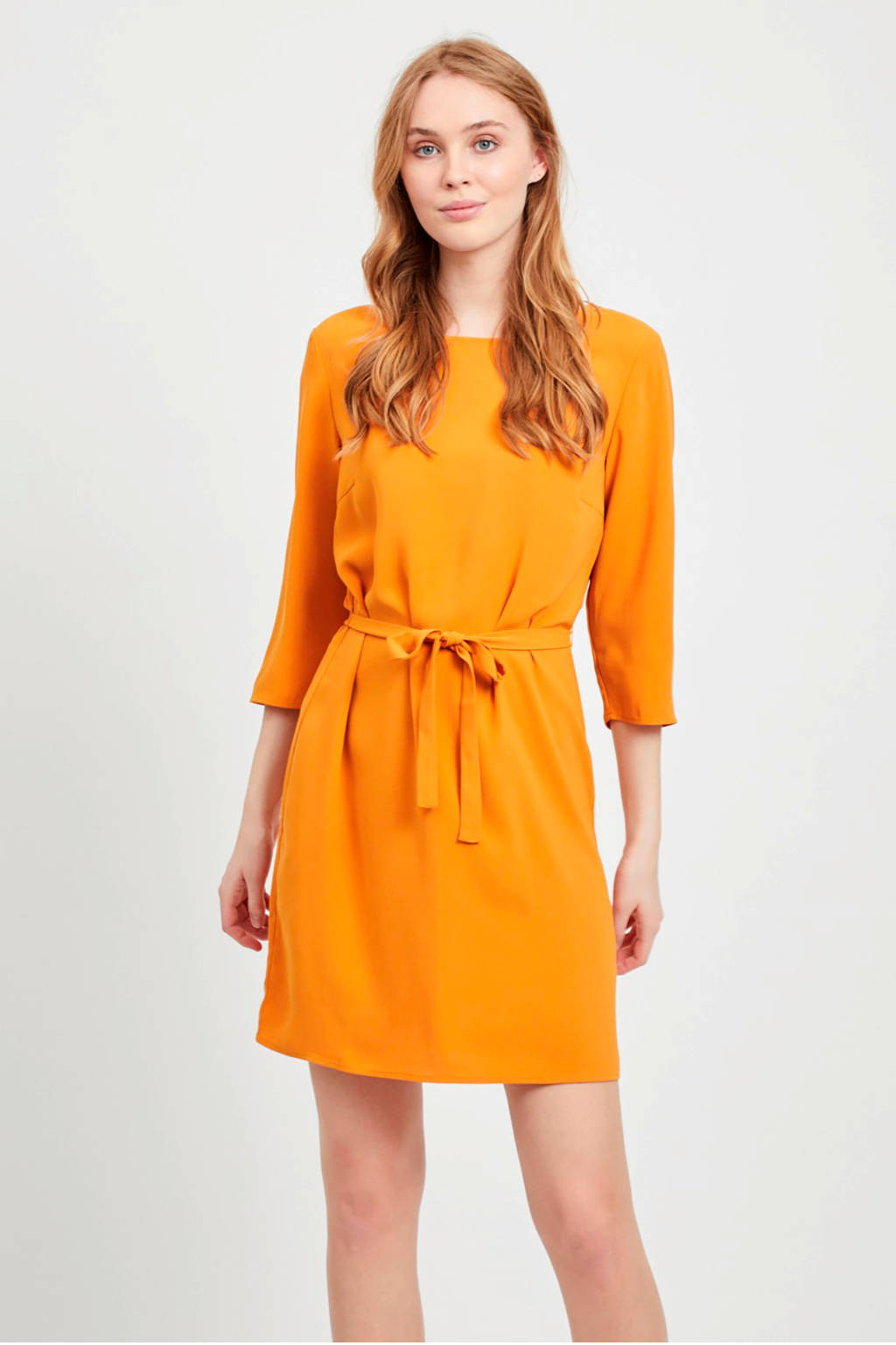 VILA jurk met strikceintuur okergeel, Okergeel