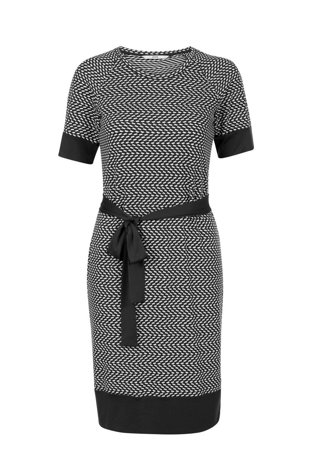Steps jurk met all over print zwart, Zwart/wit