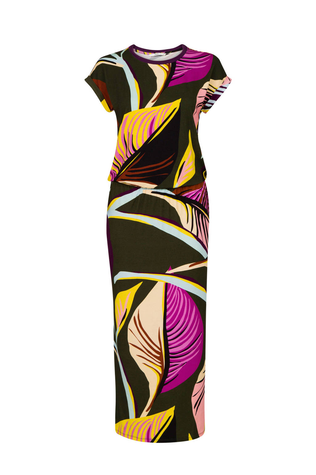 Steps maxi jurk met all over print, Groen