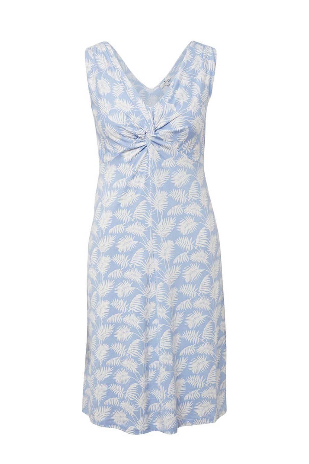 Tom Tailor jurk met bladprint blauw, Blauw/wit