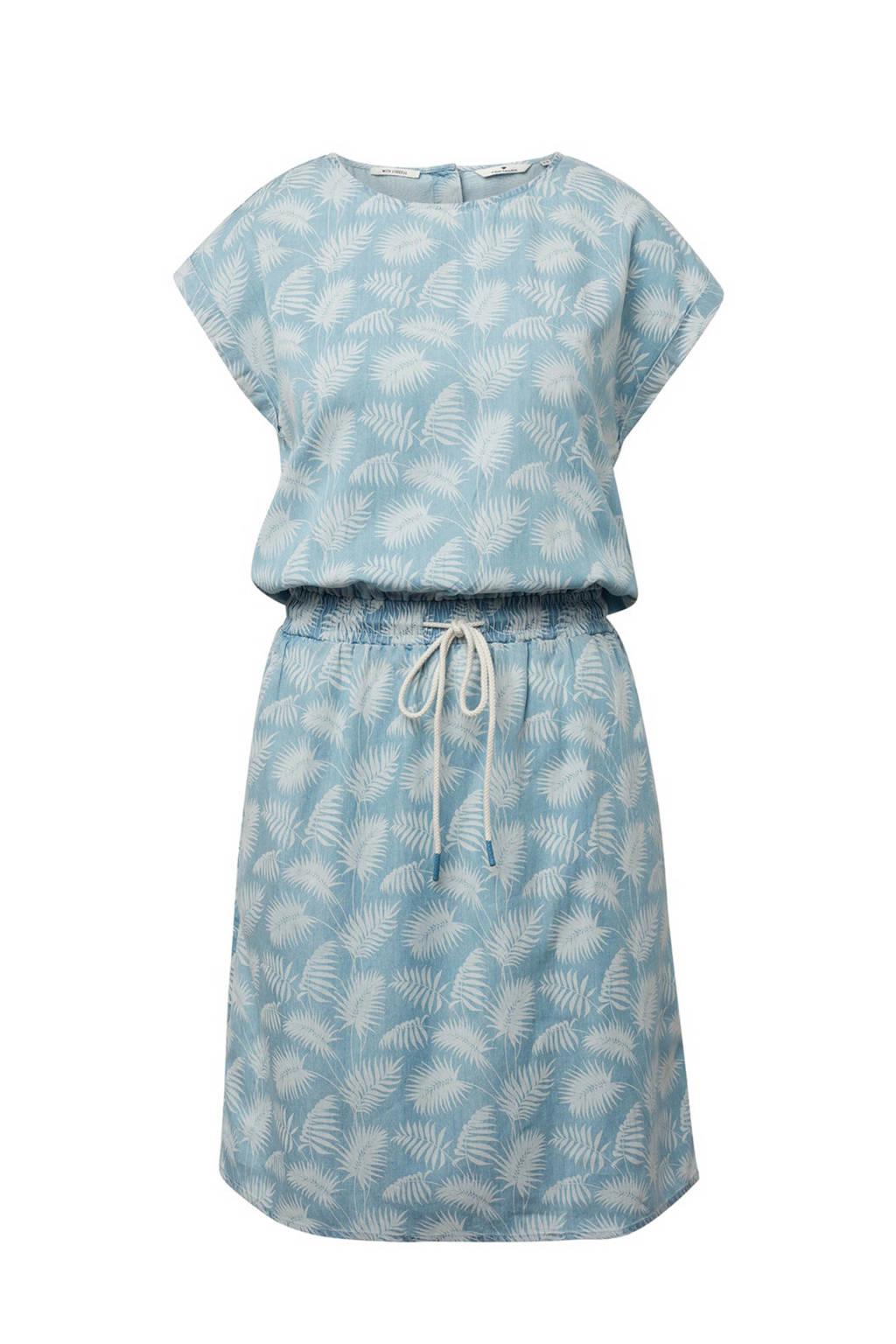 Tom Tailor jurk met all over print lichtblauw, Lichtblauw/ecru