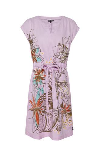 linnen jurk met bloemenprint lila