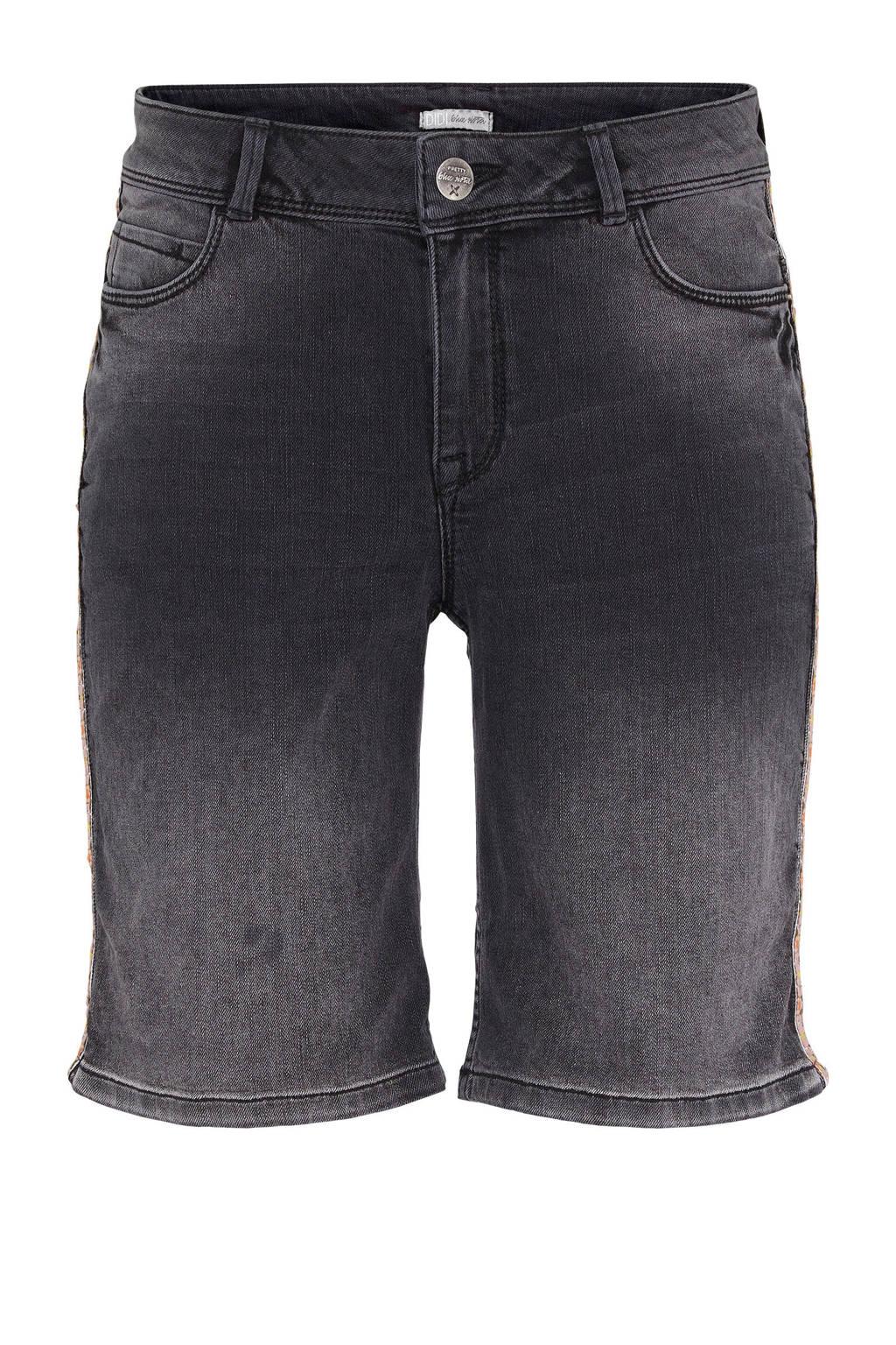 Didi slim fit jeans short met zijstreep, Zwart