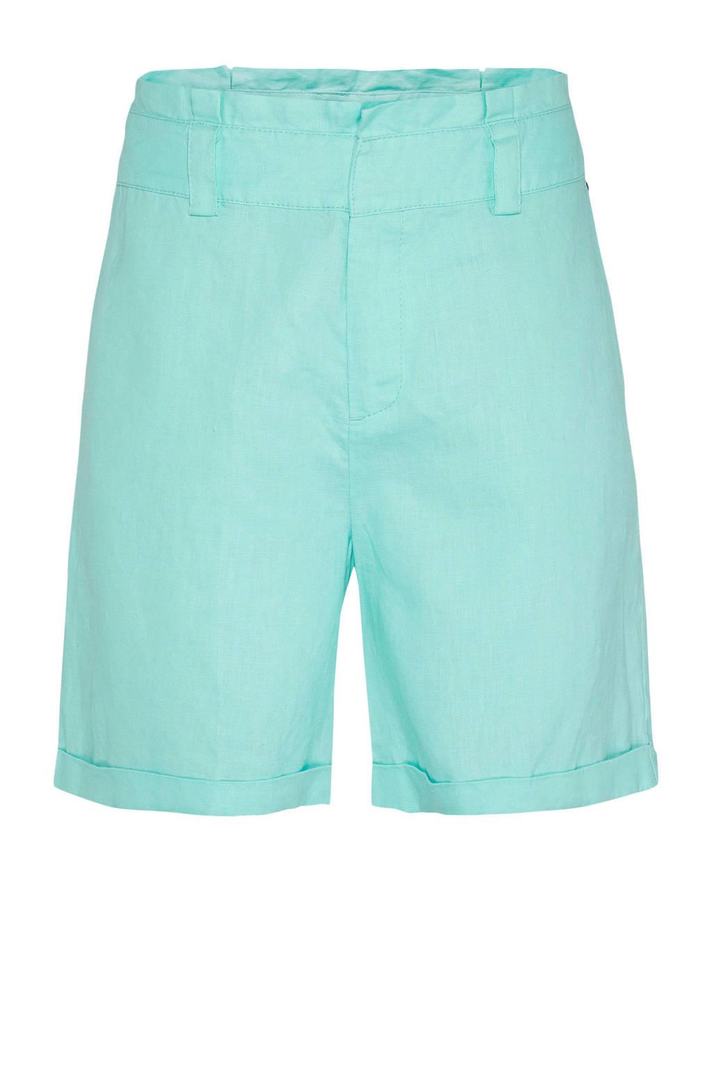 Didi linnen high waist regular fit short blauw, Blauw