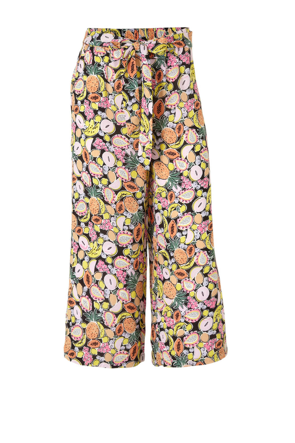 C&A Clockhouse high waist loose fit broek met all over print zwart/multi, Zwart/multi