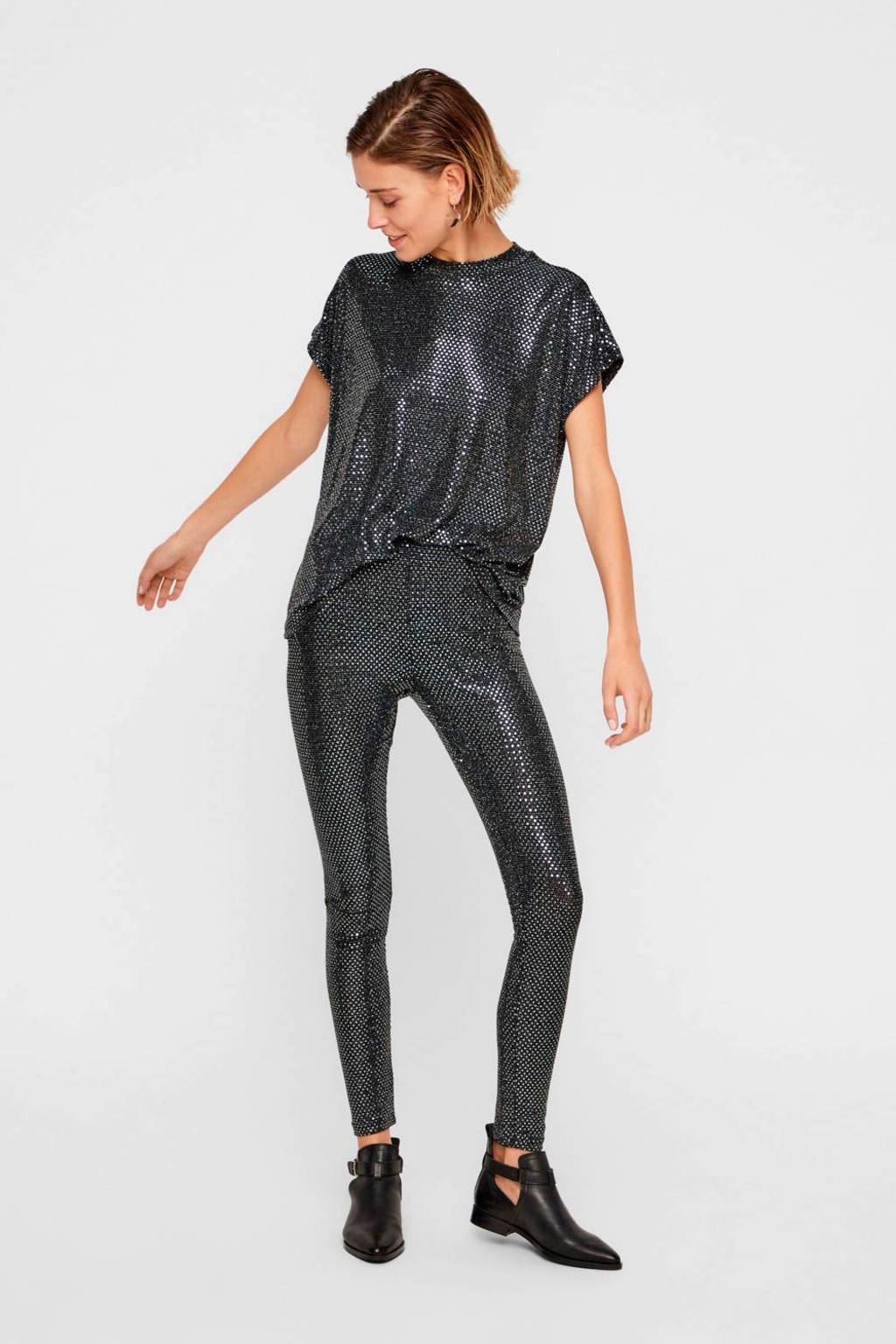 NOISY MAY T-shirt met pailletten zwart, Zwart