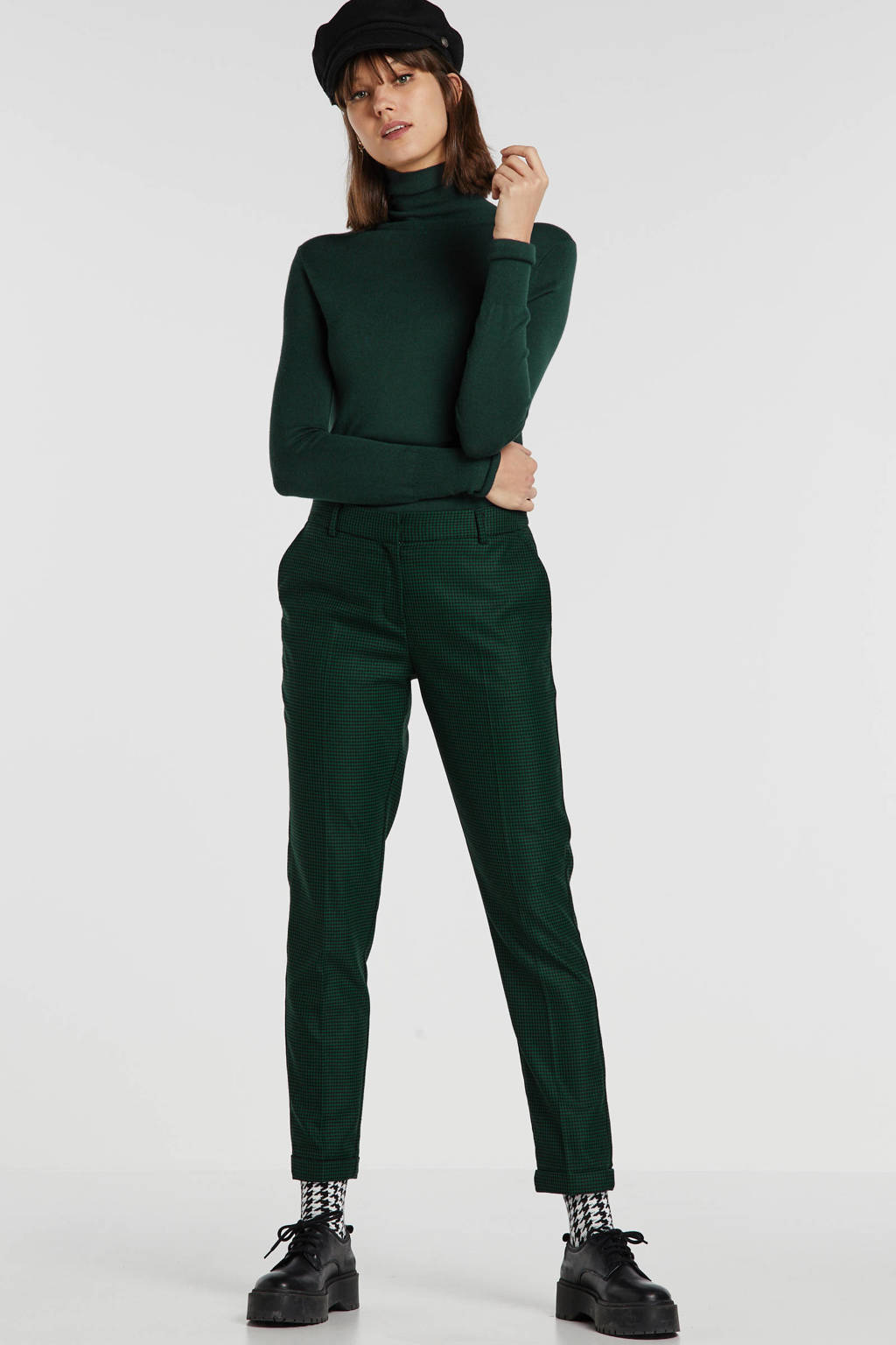 SELECTED FEMME regular fit pantalon met pied-de-poule groen/zwart, Groen/zwart