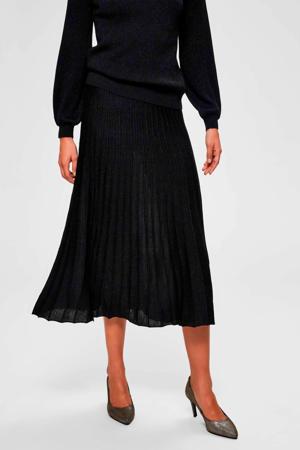 plissé rok met wol zwart