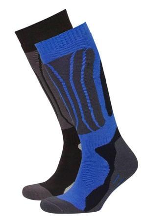 skisokken zwart/blauw/grijs (set van 2)