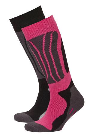 skisokken zwart/roze/grijs (set van 2)