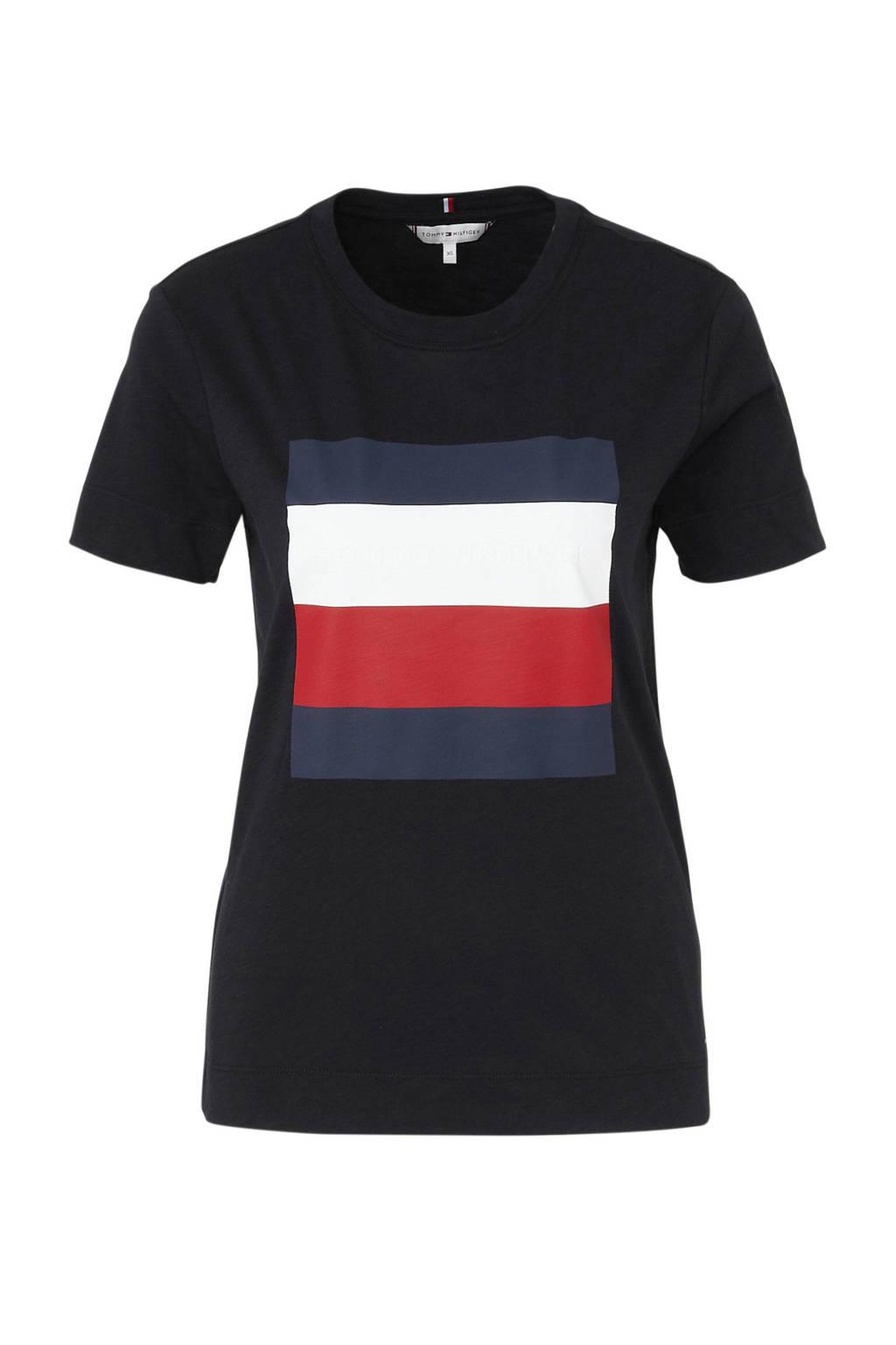 Tommy Hilfiger T-shirt met logo donkerblauw/wit/rood, Donkerblauw/wit/rood