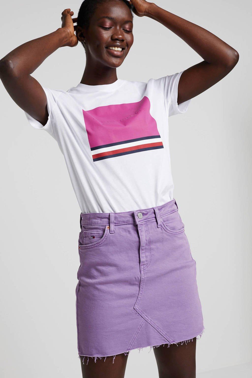 Tommy Hilfiger T-shirt van biologisch katoen wit/roze, Wit/roze