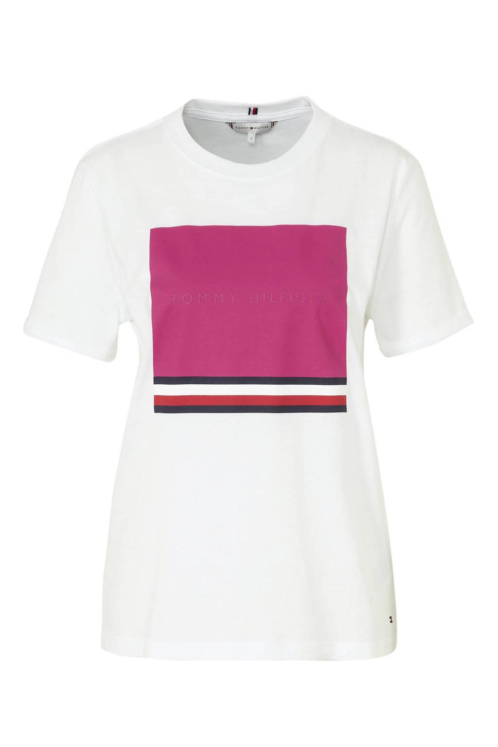 Tommy Hilfiger T-shirt met logo wit/roze, Wit/roze