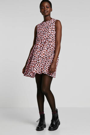 jurk met panterprint roze
