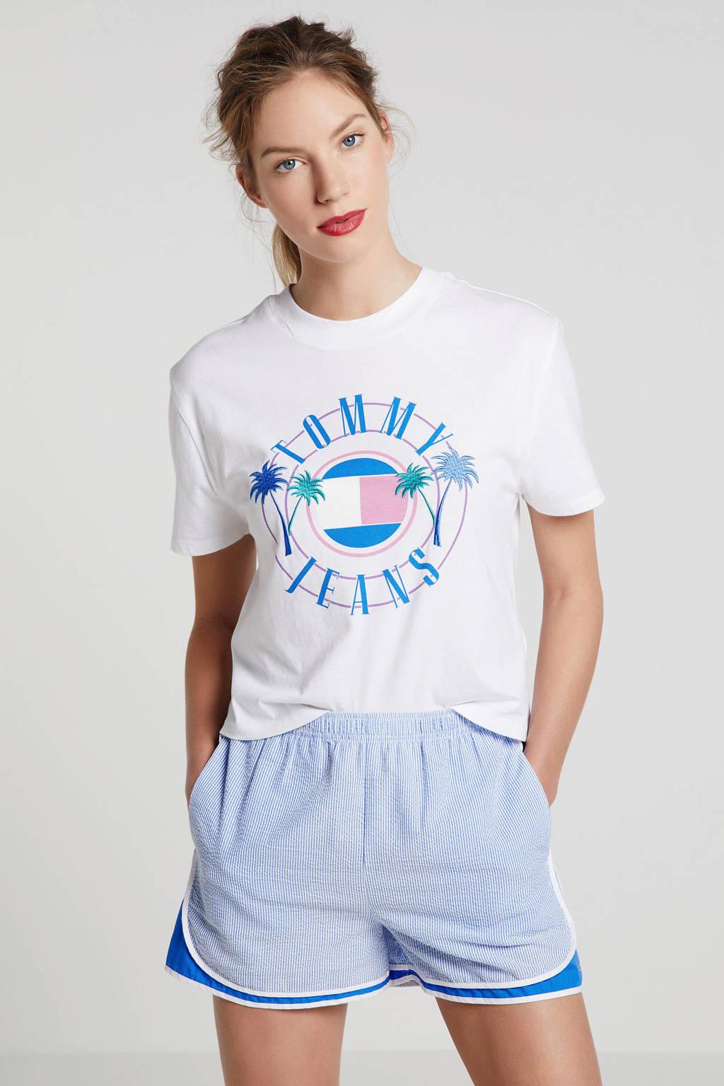 Tommy Jeans T-shirt met printopdruk wit/blauw, Wit/blauw