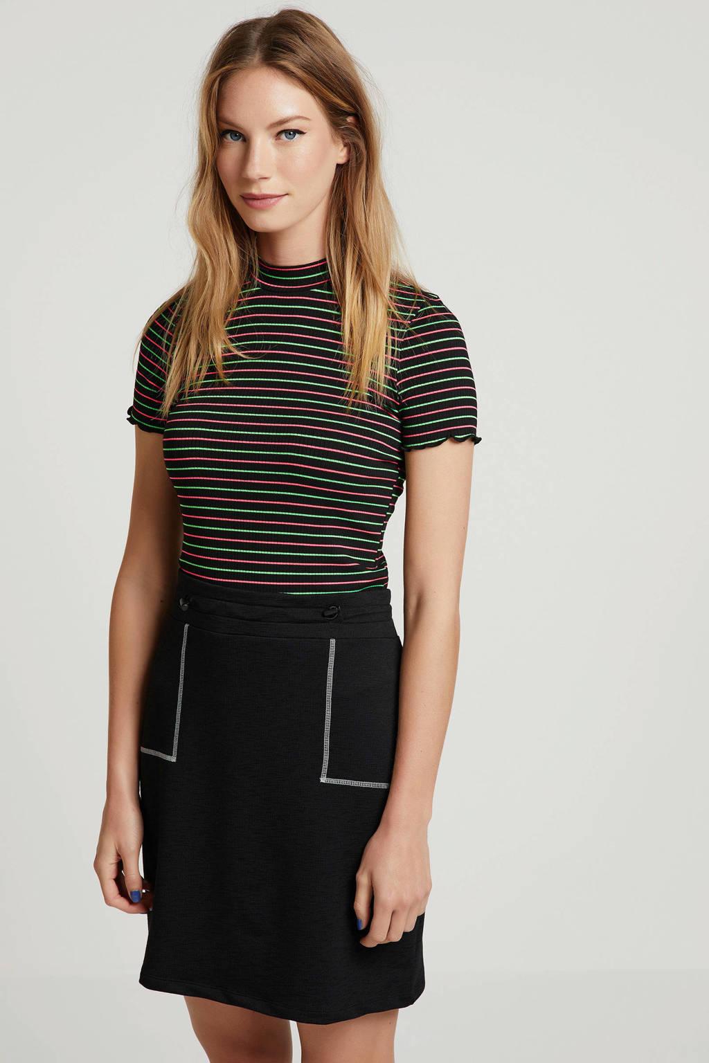 ONLY gestreept T-shirt zwart, Zwart