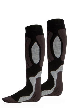 skisokken zwart/grijs (set van 2)
