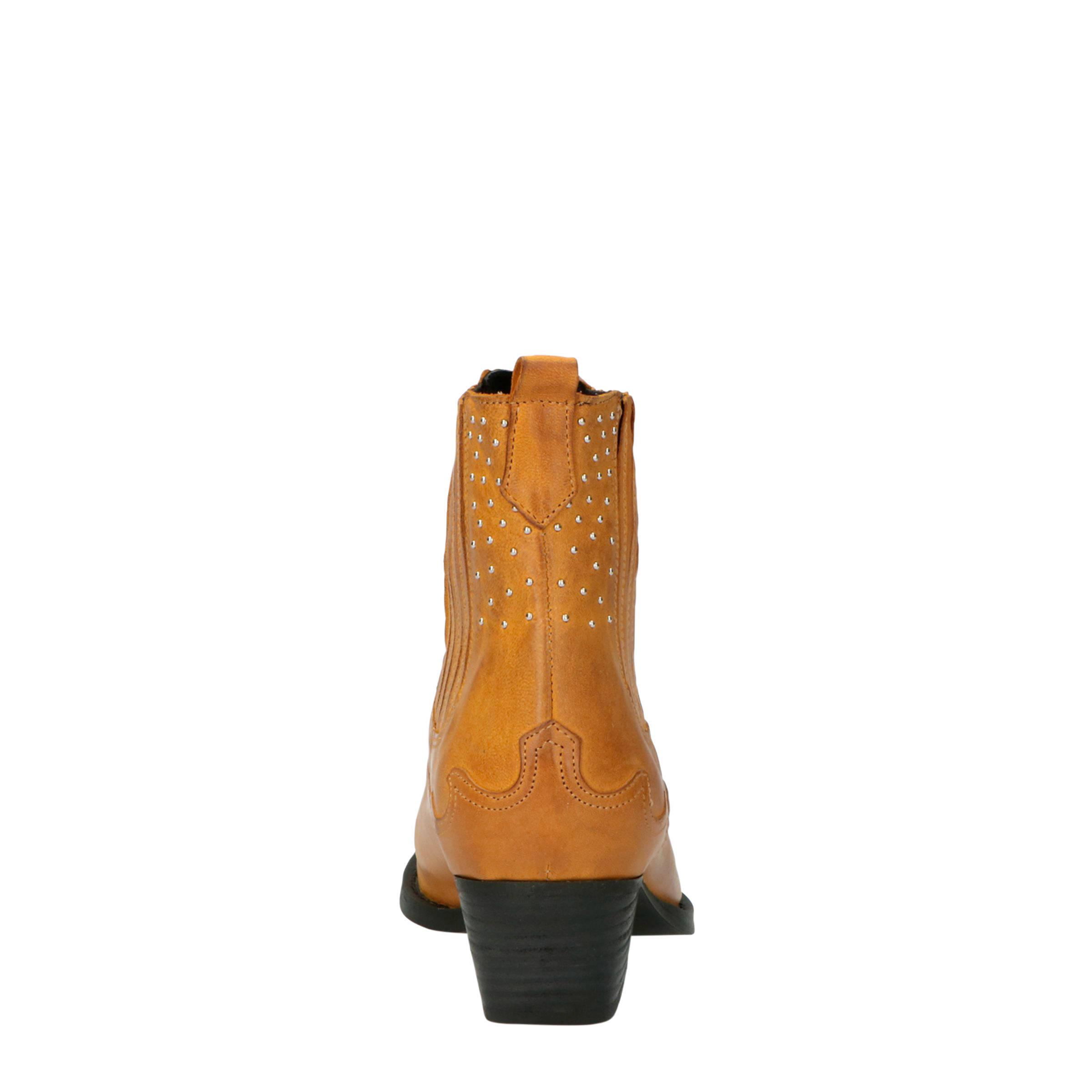 Lazamani 57.301 leren cowboylaarzen met studs geel   wehkamp