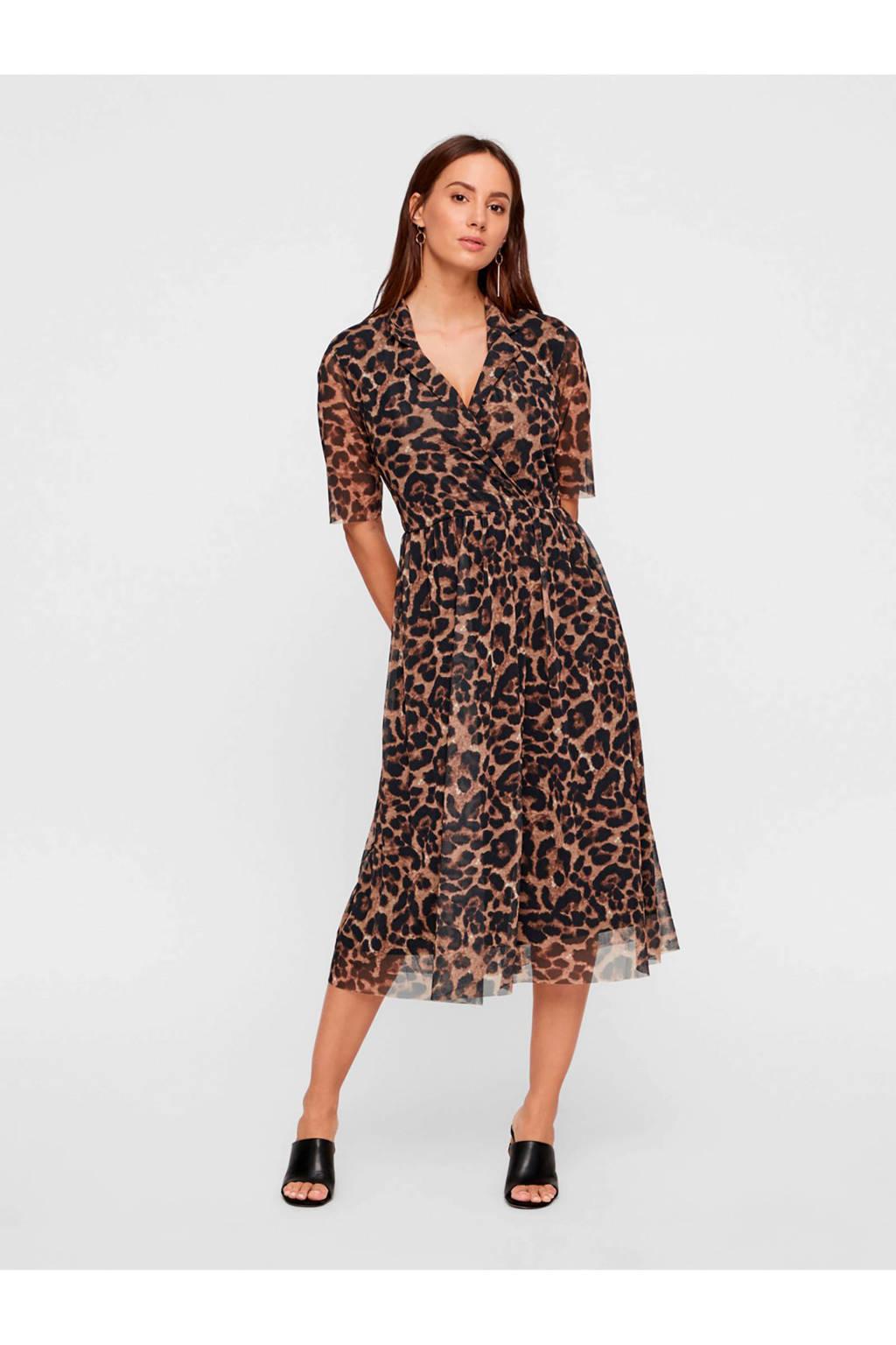 Y.A.S jurk met panterprint en mesh bruin, Bruin/zwart