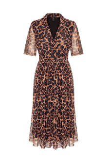 jurk met panterprint en mesh bruin