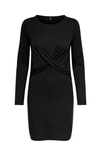 jurk met knoopdetail donkergrijs