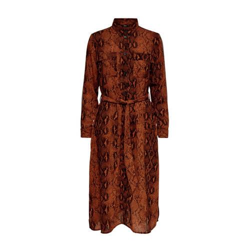 ONLY blousejurk met slangenprint oranje